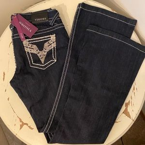 Vigoss Embellished, flare, dark wash jeans